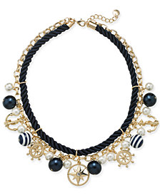 "Charter Club Gold-Tone Crystal, Imitation Pearl & Bead Nautical Charm Rope Necklace, 17"" + 2"" extender, Created for Macy's"