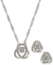 Charter Club Silver-Time Dancing Crystal Necklace and Earrings Set, Created for Macy's