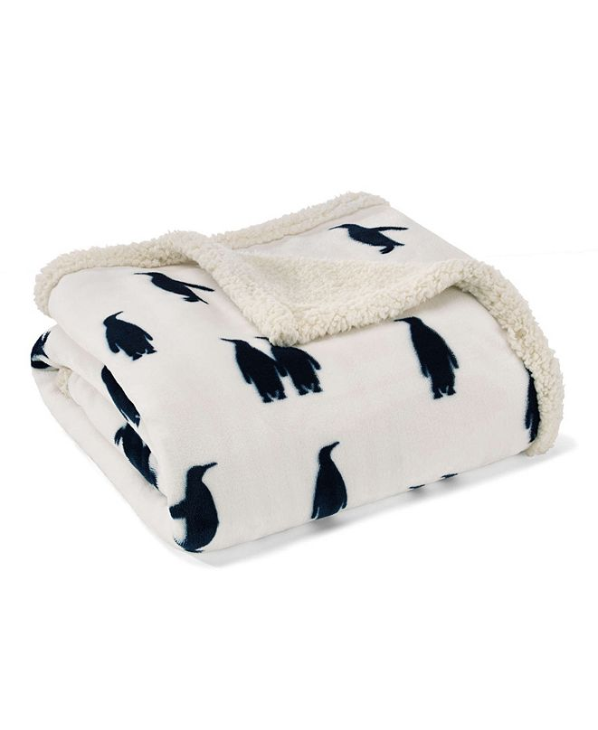 Eddie Bauer Emperor Penguin Print Sherpa Throw