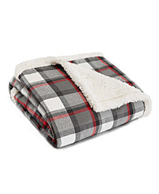 Eddie Bauer Wallace Plaid Cinder Flannel Sherpa Throw