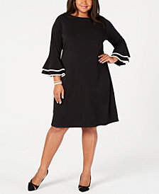 Charter Club Plus Size Ruffle-Cuffed Shirt Dress, Created for Macy's