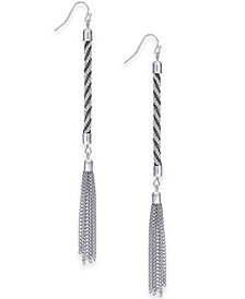 Thalia Sodi Silver-Tone Rope Tassel Drop Earrings, Created for Macy's