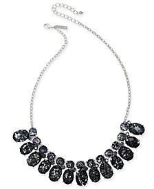 """I.N.C. Silver-Tone Crystal & Stone Collar Necklace, 18"""" + 3"""" extender, Created for Macy's"""
