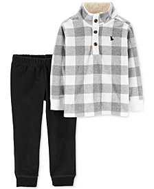 Carter's Toddler Boys 2-Pc. Checkered Fleece Pullover & Jogger Pants Set