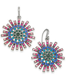 I.N.C. Hematite-Tone Crystal Burst Drop Earrings, Created for Macy's