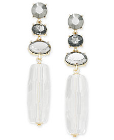 I.N.C. Gold-Tone Crystal & Stone Linear Drop Earrings, Crested for Macy's