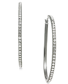 "I.N.C. Large Hematite-Tone Pavé Hoop Earrings, 2"", Created for Macy's"