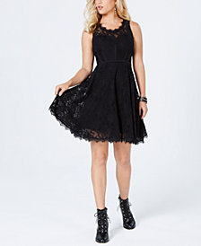 GUESS Shaira Lace Fit & Flare Dress