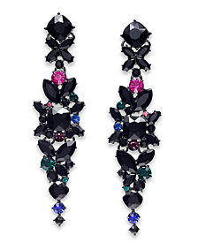 I.N.C. Floral Crystal Linear Earrings, Created for Macy's
