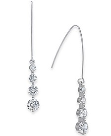 INC Silver-Tone Cubic Zirconia Crystal Drop Threader Earrings, Created for Macy's