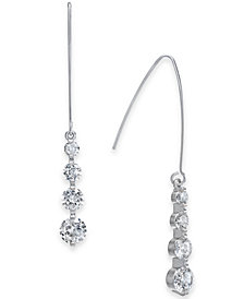 I.N.C. Silver-Tone Cubic Zirconia Crystal Drop Threader Earrings, Created for Macy's