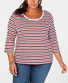 Plus Size Cotton Striped Top, Created for Macy's