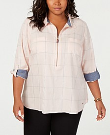 Plus Size Popover Shirt, Created for Macy's