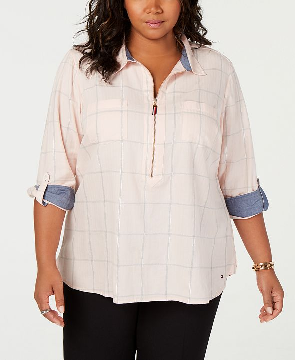 Tommy Hilfiger Plus Size Popover Shirt, Created for Macy's