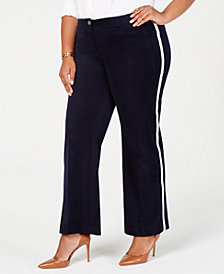 Tommy Hilfiger Plus Size Velvet Varsity-Stripe Pants, Created for Macy's