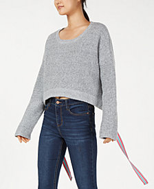 Crave Fame Juniors' Ribbon-Tie Cropped Sweater