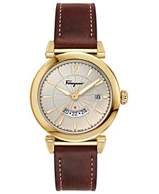 Ferragamo Men's Swiss Feroni Brown Leather Strap Watch 40mm