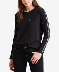 Levi's® Perfect Cotton Tuxedo-Stripe Pocket T-Shirt