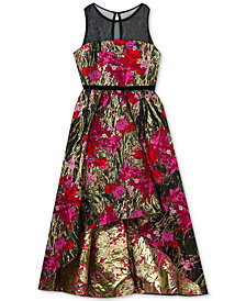 Rare Editions Big Girls Illusion Neck Metallic Brocade Dress