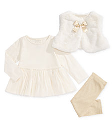 First Impressions Baby Girls 3-Pc. Faux-Fur Vest, Peplum Tunic & Metallic Leggings Set, Created for Macy's