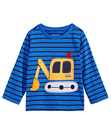 First Impressions Baby Boys Striped Tractor-Print Cotton T-Shirt, Created for Macy's