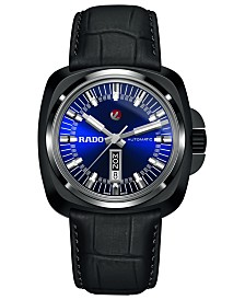 Rado Men's Swiss Automatic Tradition HyperChrome 16161 Black Leather Strap Watch 46mm