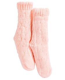 Trimfit Little & Bigs Girls Cable-Knit Slipper Socks