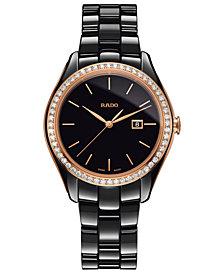 Rado Women's Swiss HyperChrome Diamond (3/8 ct. t.w.) Black High-Tech Ceramic Bracelet Watch 36mm