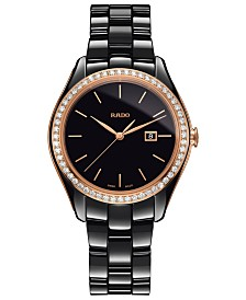 Rado Women's Swiss HyperChrome Diamond (3/8 ct. t.w.) Black High-Tech Ceramic Bracelet Watch 36mm