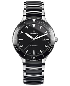 Rado Men's Swiss Automatic Centrix Black High-Tech Ceramic & Stainless Steel Bracelet Watch 42mm