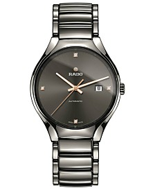 Rado Unisex Swiss True Diamond-Accent Plasma High-Tech Ceramic Bracelet Watch 40mm