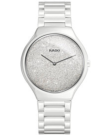 Rado Women's Swiss True Thinline White High-Tech Ceramic Bracelet Watch 39mm