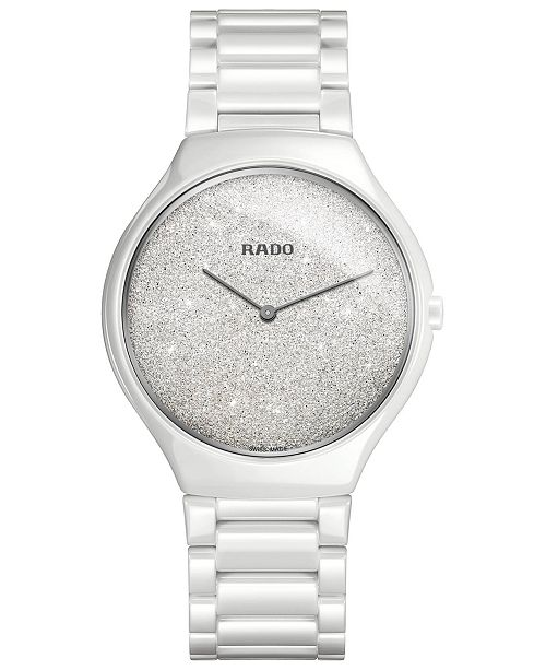 cd398964c6c ... Rado Women s Swiss True Thinline White High-Tech Ceramic Bracelet Watch  ...
