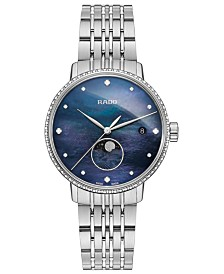 Rado Women's Swiss Coupole Classic Diamond (1/4 ct. t.w.) Stainless Steel Bracelet Watch 34mm