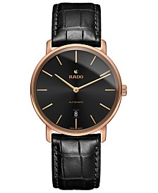 Rado Men's Swiss Automatic DiaMaster Black Leather Strap Watch 41mm
