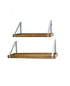 Stratton Home Decor Set of 2 Wood and Metal Shelves