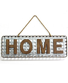 Stratton Home Decor Metal Basket Weave Home Sign