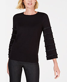 Alfani Petite Tiered Fringe Pullover Sweater, Created for Macy's