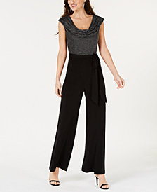 Connected Petite Metallic Cowl-Neck Jumpsuit