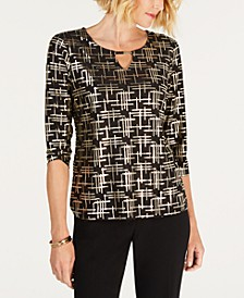 Foil Jacquard Elbow-Sleeve Keyhole Top, Created for Macy's