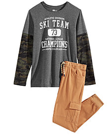 Epic Threads Big Boys Ski Team Layered-Look Shirt & Cargo Joggers Separates, Created for Macy's