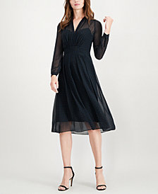 Anne Klein Polka Dot Fit & Flare Dress