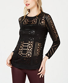 Bar III Sheer Burnout Top, Created for Macy's