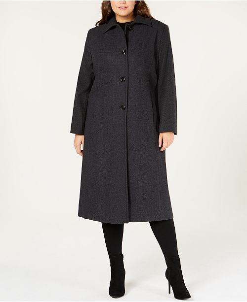 Jones New York Plus Size Maxi Walker Coat & Reviews - Coats ...