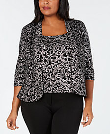 Alex Evenings Plus Size Glitter Print Jacket & Top Set