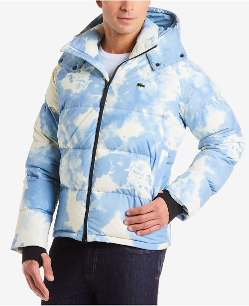 848919350 Lacoste Men s LIVE Quilted Cloud-Print Hooded Jacket   Reviews ...