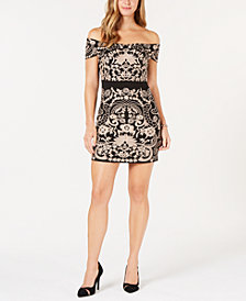 foxiedox Embroidered Off-The-Shoulder Dress