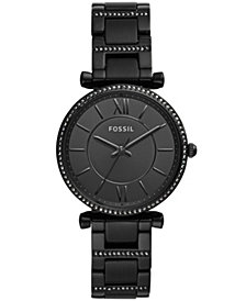 Fossil Women's Carlie Black Stainless Steel Bracelet Watch 35mm