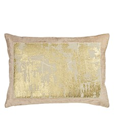 Linen Distressed Metallic Lace Pillow
