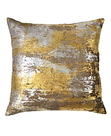 Silver Distressed Metallic Velvet Print Pillow